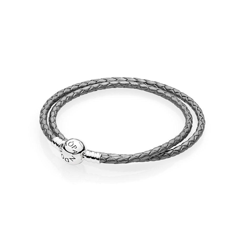 Silver Grey Braided Double-Leather Charm Bracelet