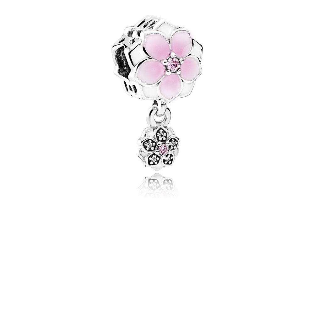 Magnolia Bloom Charm, Pale Cerise Enamel, Pink & Clear CZ