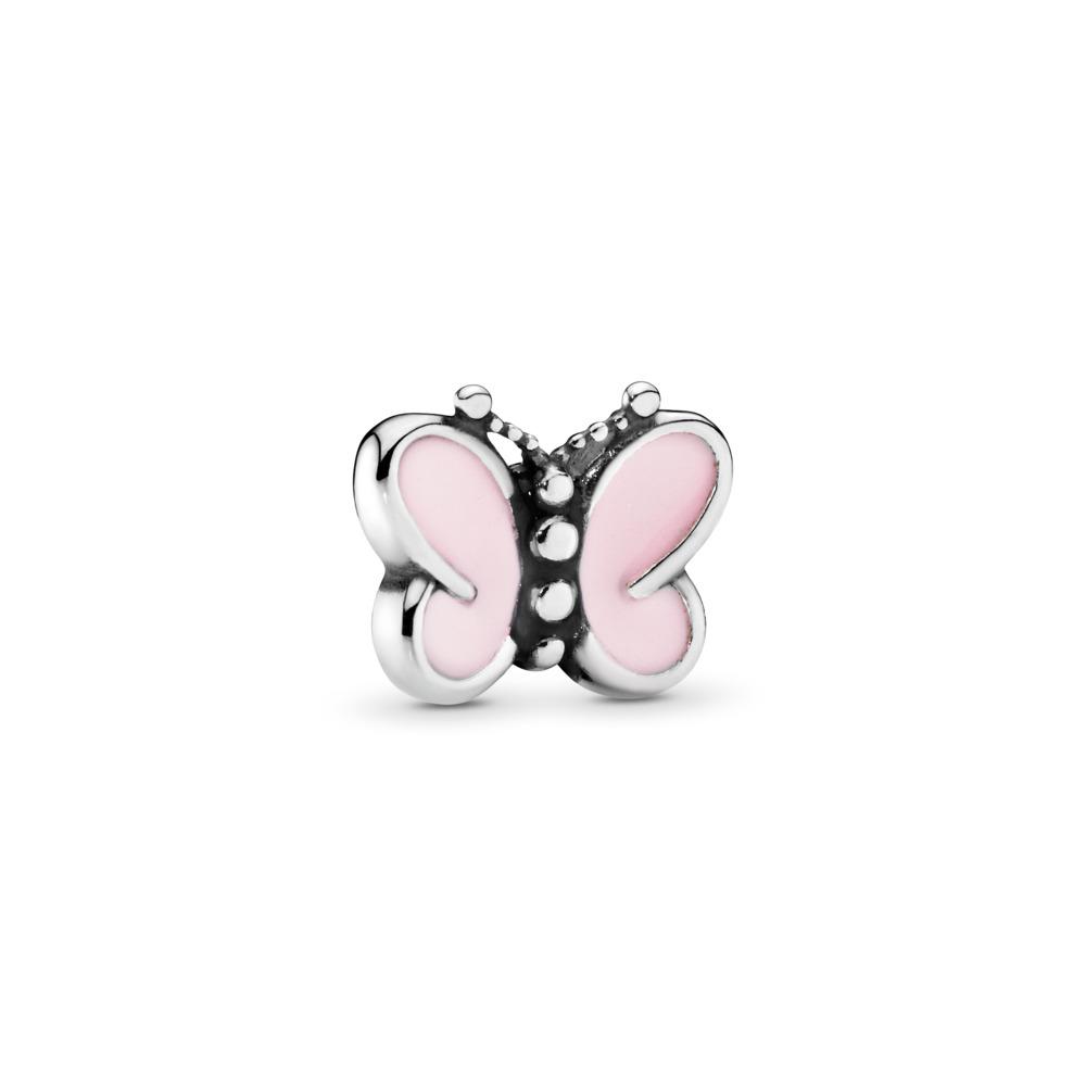 Pink Butterflies Petite Charm, Sterling silver, Enamel, Pink - PANDORA - #797854EN160