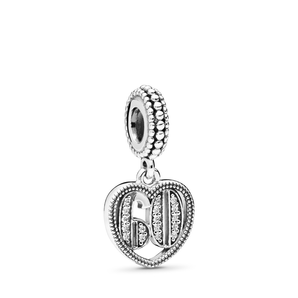 60 Years of Love Dangle Charm, Clear CZ, Sterling silver, Cubic Zirconia - PANDORA - #797265CZ