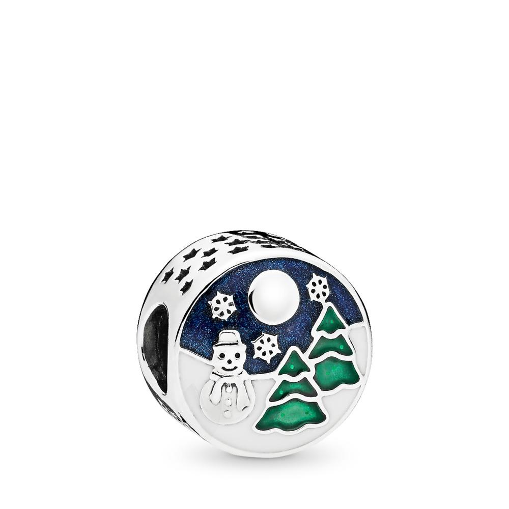 Snowy Wonderland Charm, Blue & Green Enamel, Sterling silver, Enamel, Blue - PANDORA - #796384ENMX