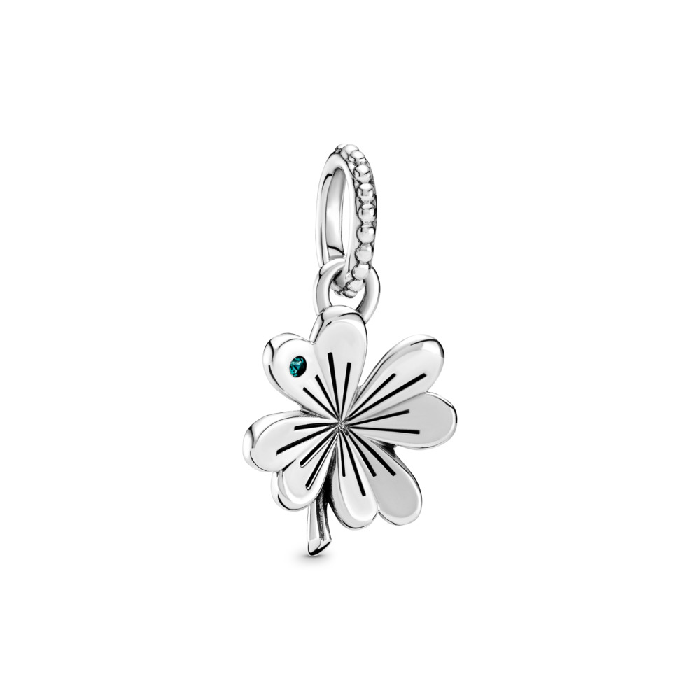 Lucky Four-Leaf Clover Pendant, Sterling silver, Green, Crystal - PANDORA - #397965NAG