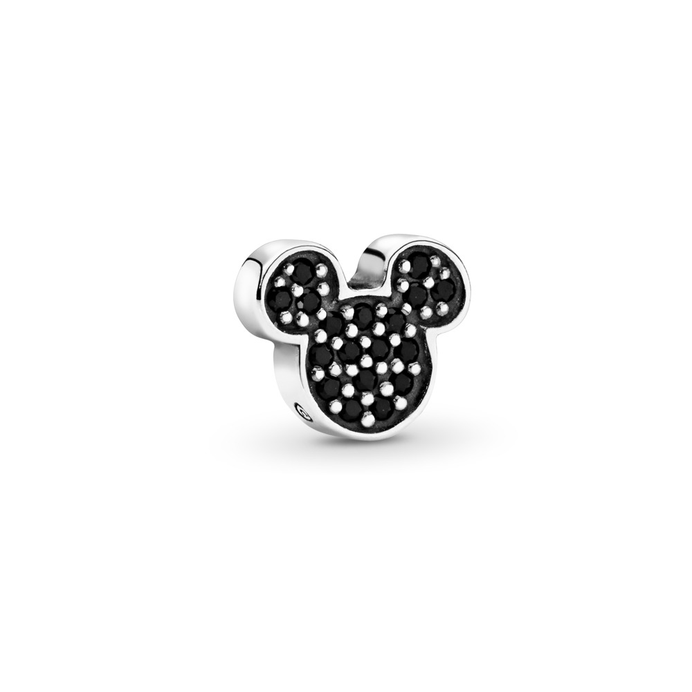 Disney, Sparkling Mickey Icon Petite Locket Charm, Black Crystal, Sterling silver, Black, Crystal - PANDORA - #796345NCK