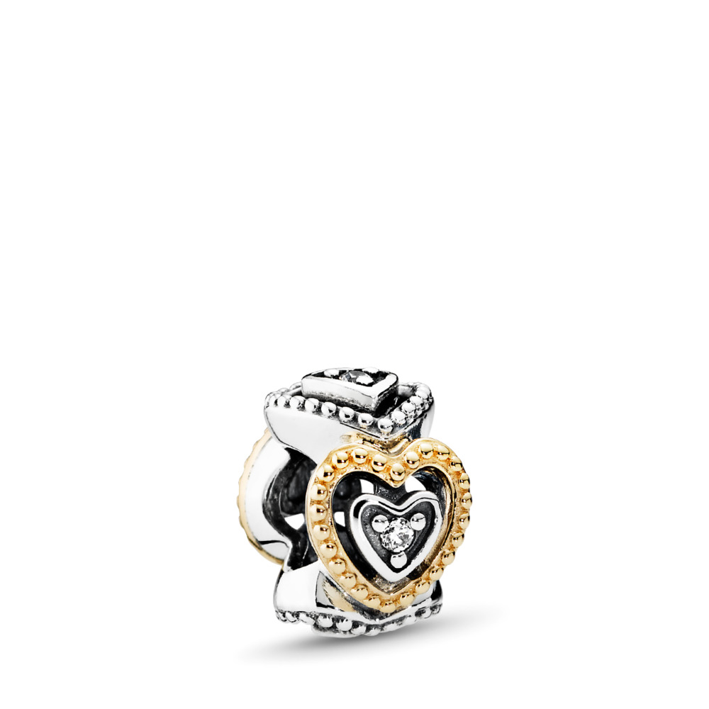 Celebration of Love Spacer, Clear CZ, Two Tone, Cubic Zirconia - PANDORA - #791975CZ