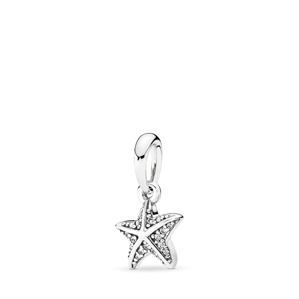 Tropical Starfish Pendant, Clear CZ, Sterling silver, Cubic Zirconia - PANDORA - #390403CZ