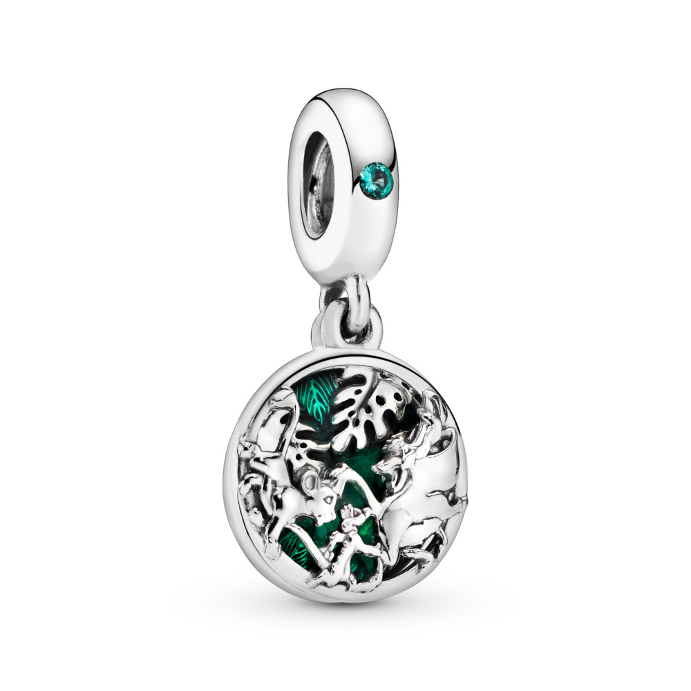 Disney, Simba, Timon & Pumbaa Dangle Charm, Sterling silver, Enamel, Green, Crystal - PANDORA - #798043NRG