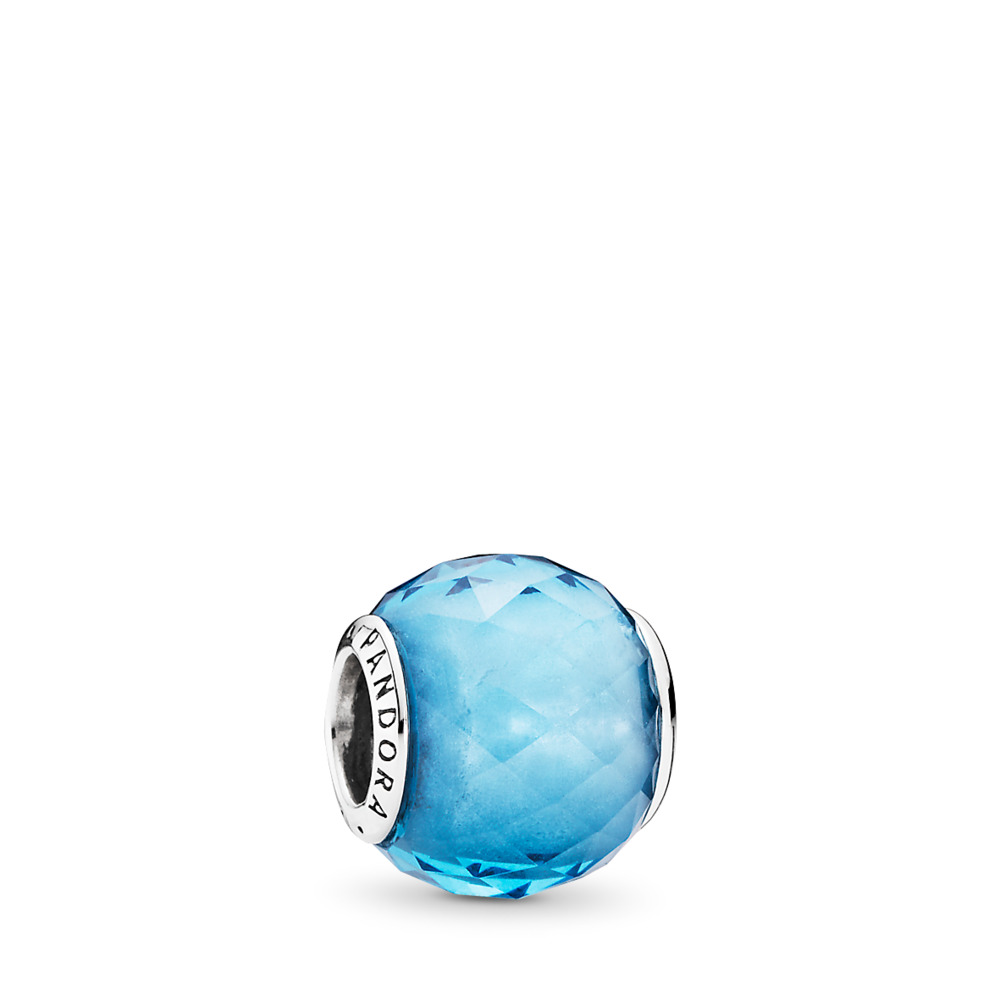 Geometric Facets Charm, Sky-Blue Crystal, Sterling silver, Blue, Crystal - PANDORA - #791722NBS