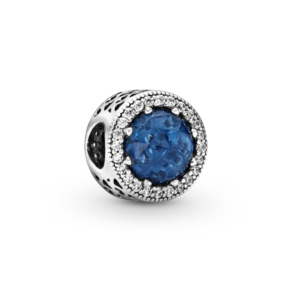 Radiant Hearts Charm, Moonlight Blue Crystal & Clear CZ, Sterling silver, Blue, Mixed stones - PANDORA - #791725NMB