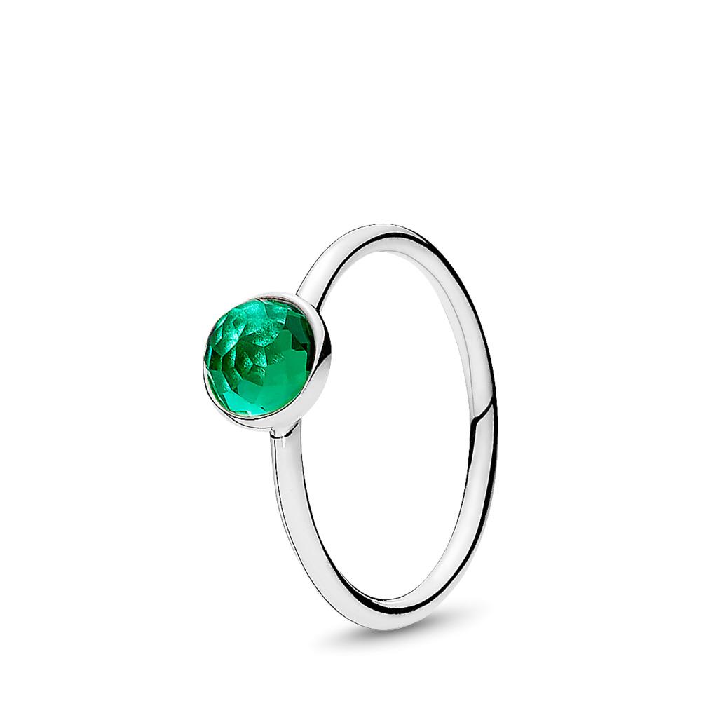 May Droplet Ring, Royal-Green Crystal, Sterling silver, Green, Crystal - PANDORA - #191012NRG