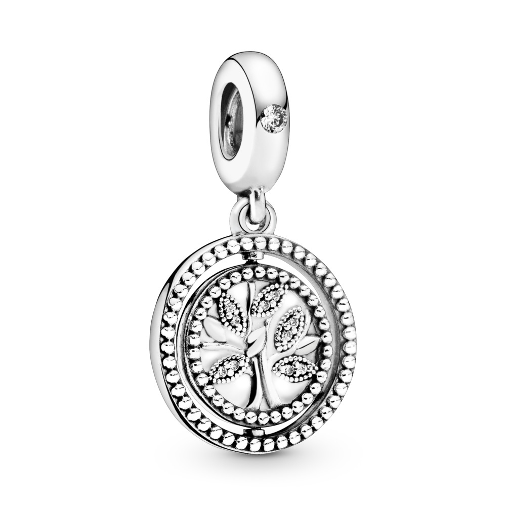 7e7e980ff Spinning Pandora Tree of Life Dangle Charm, Sterling silver, Enamel, Clear,  Cubic