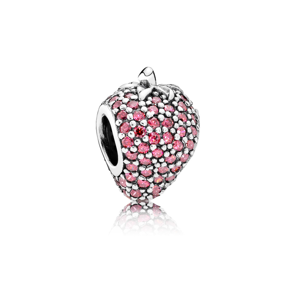 Pavé Strawberry Charm, Red CZ, Sterling silver, Red, Cubic Zirconia - PANDORA - #791899CZR