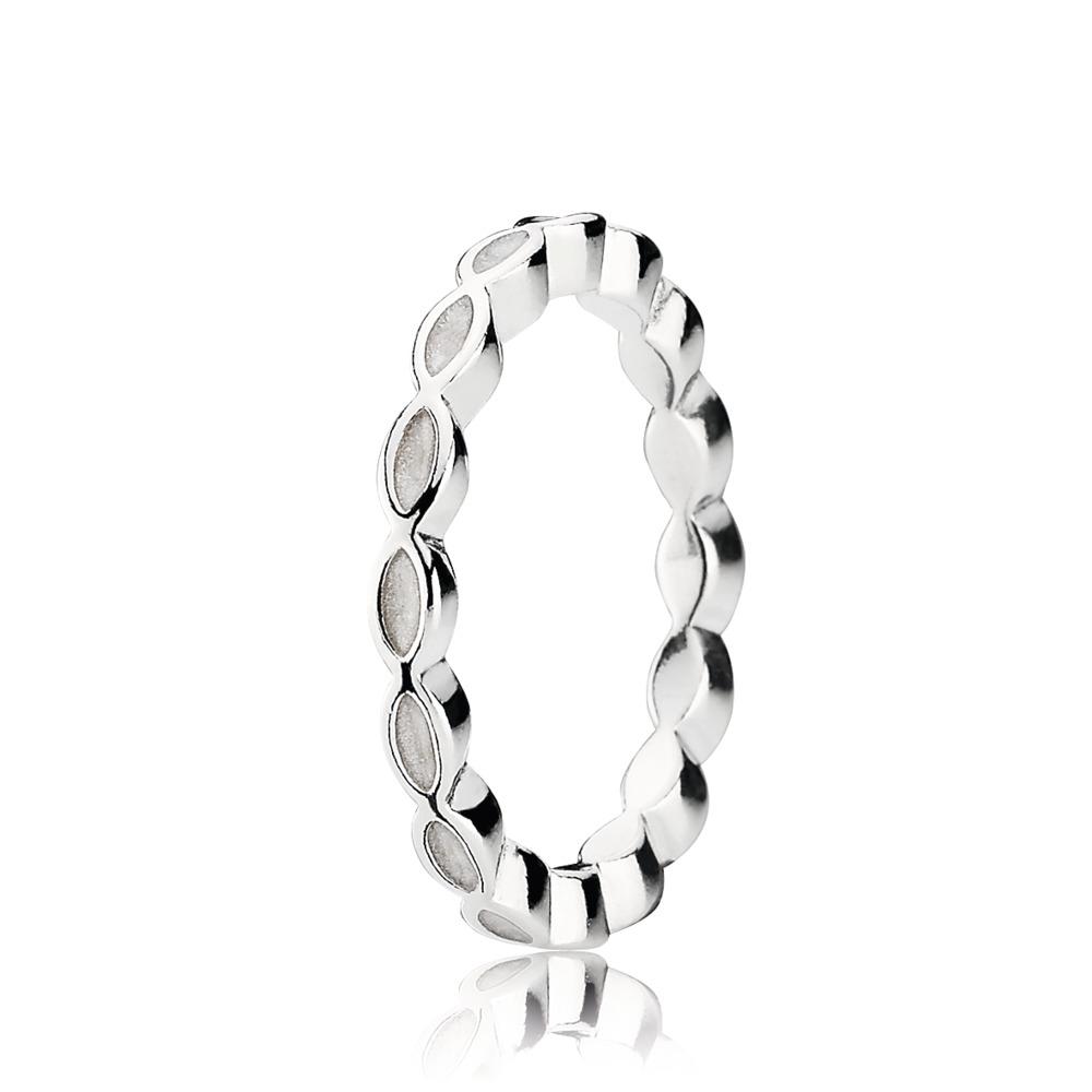 Better Together Stackable Ring, White Enamel, Sterling silver, Enamel, Beige - PANDORA - #190884EN23