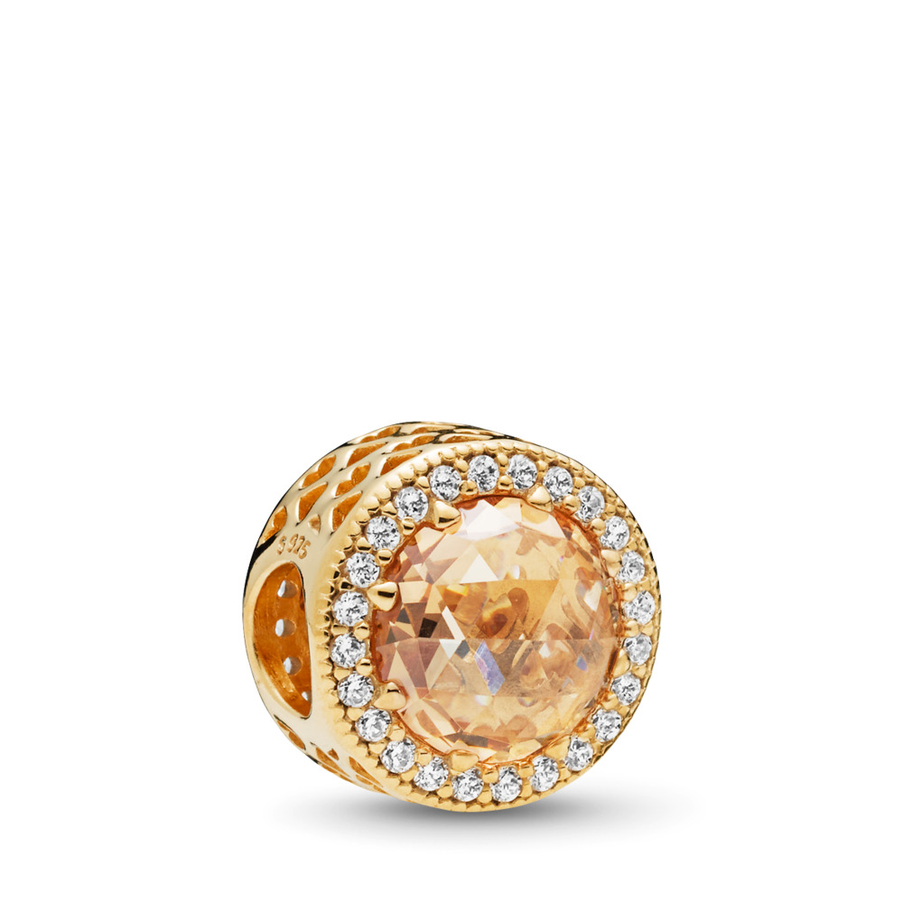 Radiant Hearts Charm, PANDORA Shine™ & Multi-Colored CZ, 18ct Gold Plated, Gold, Cubic Zirconia - PANDORA - #761725CLG