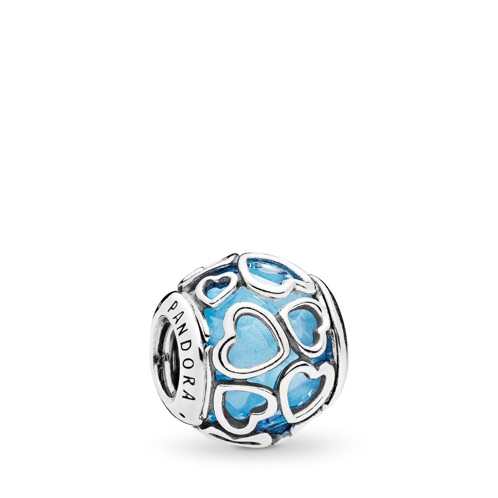 Encased in Love Charm, Sky Blue Crystal, Sterling silver, Blue, Crystal - PANDORA - #792036NBS