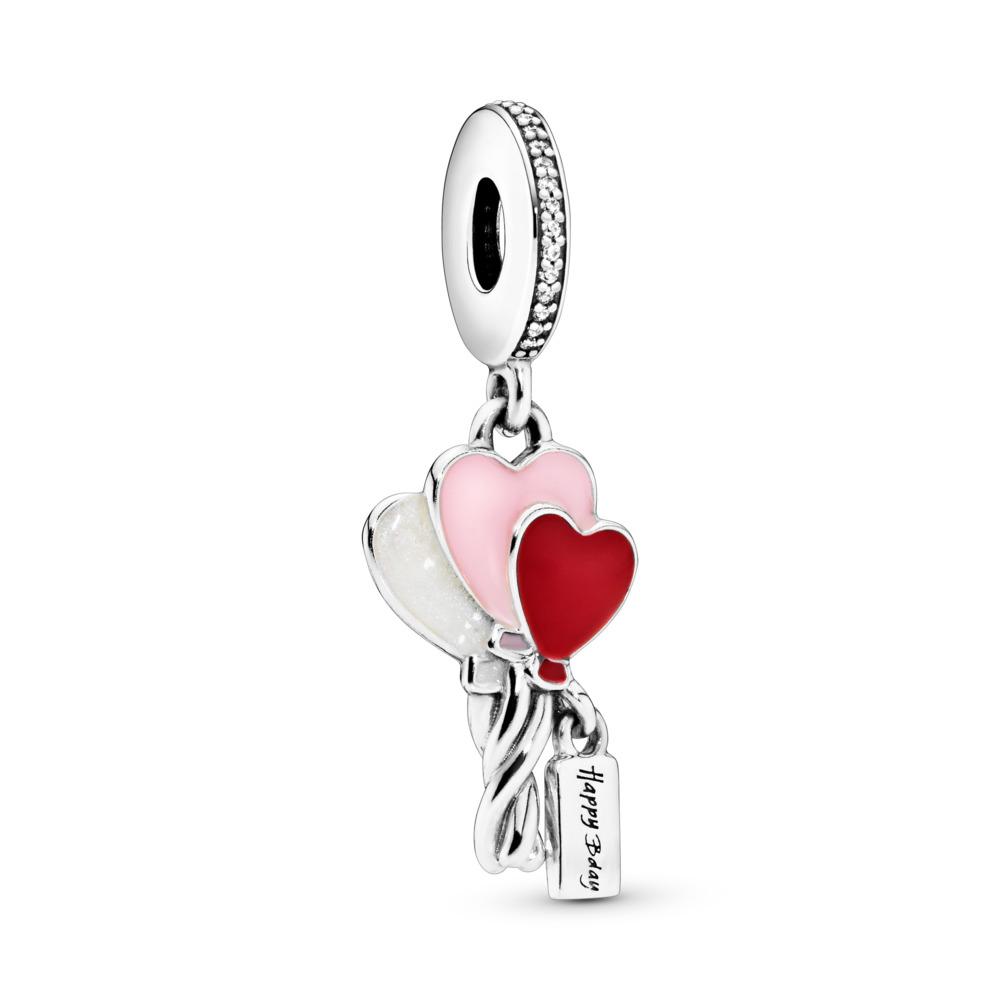 Heart Balloons Dangle Charm, Sterling silver, Enamel, Pink, Cubic Zirconia - PANDORA - #798076CZ