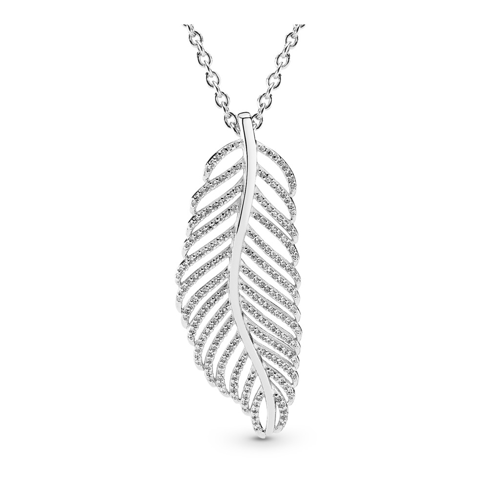 Light as a Feather Pendant Necklace, Clear CZ, Sterling silver, Cubic Zirconia - PANDORA - #390397CZ