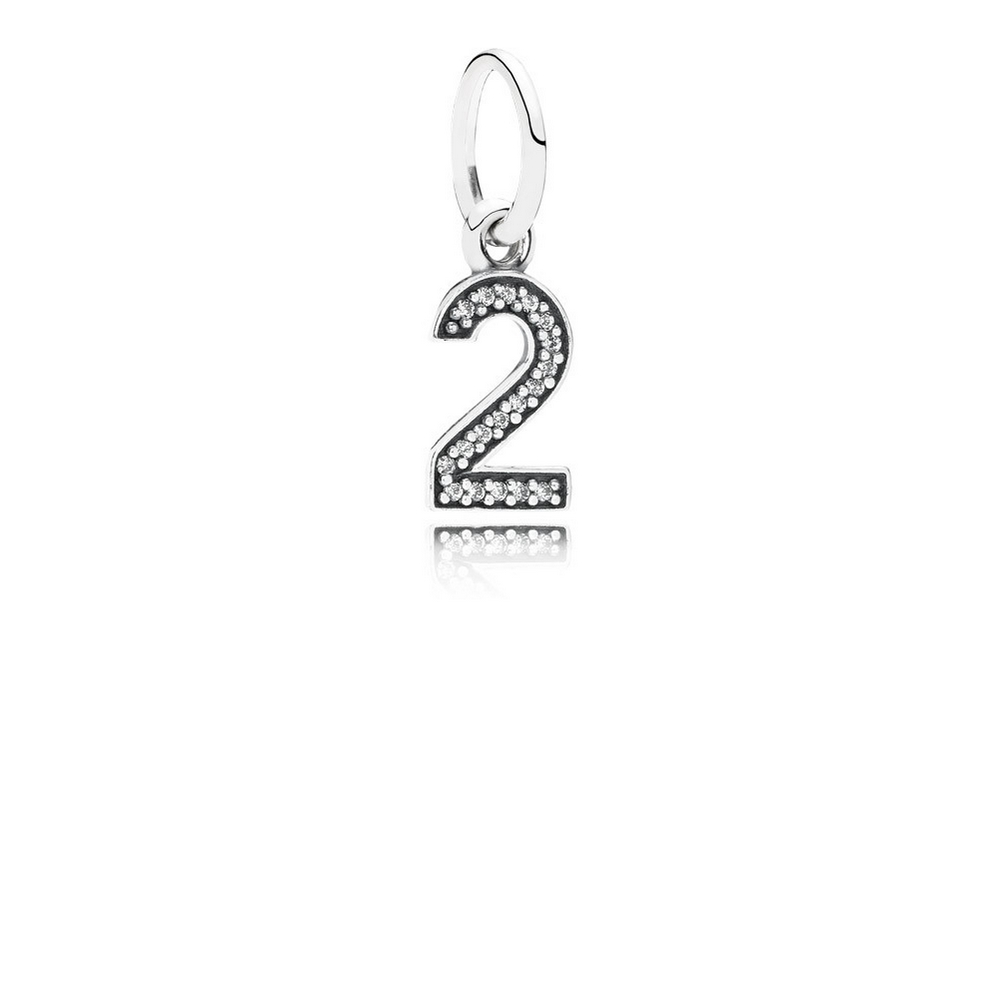 Number 2 Dangle Charm, Clear CZ