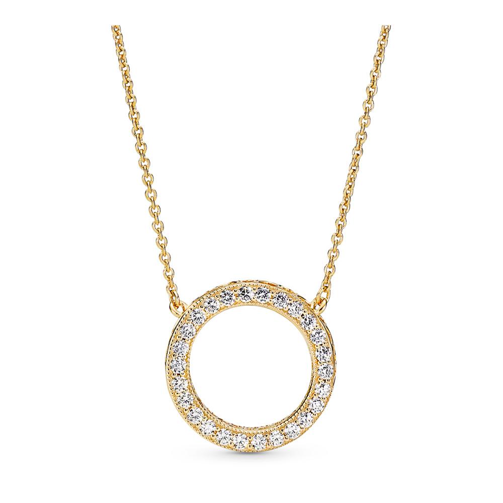 Hearts of PANDORA Necklace, PANDORA Shine™ & Clear CZ, 18ct Gold Plated, Cubic Zirconia - PANDORA - #367121CZ