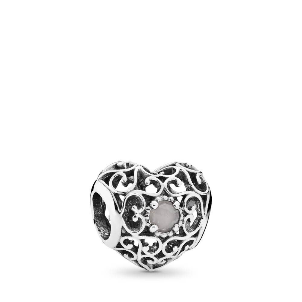 June Signature Heart Charm, Grey Moonstone, Sterling silver, Grey, Moonstone - PANDORA - #791784MSG