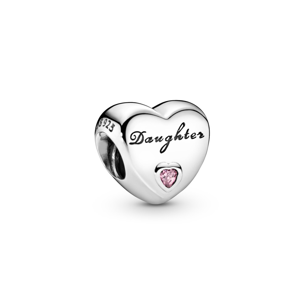 Daughter's Love Charm, Pink CZ, Sterling silver, Pink, Cubic Zirconia - PANDORA - #791726PCZ