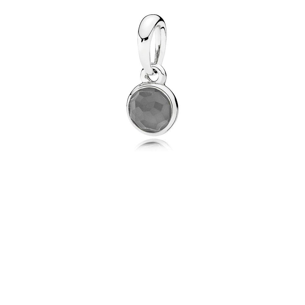 June Droplet Pendant, Grey Moonstone
