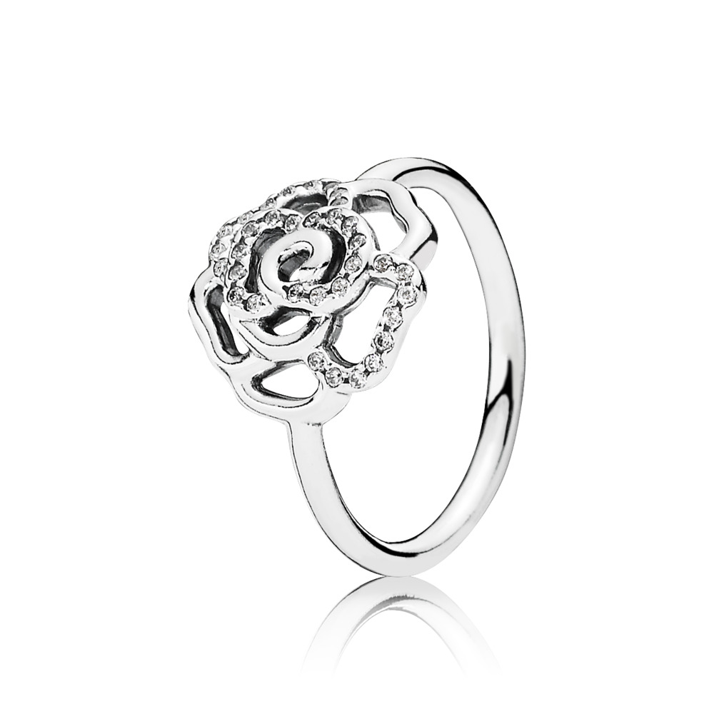 Shimmering Delicate Rose, Clear CZ, Sterling silver, Cubic Zirconia - PANDORA - #190949CZ