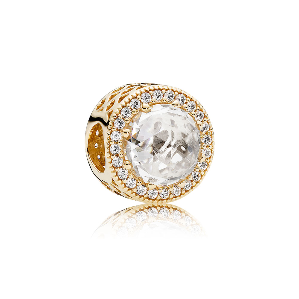 Radiant Hearts Charm, 14K Gold& Clear CZ