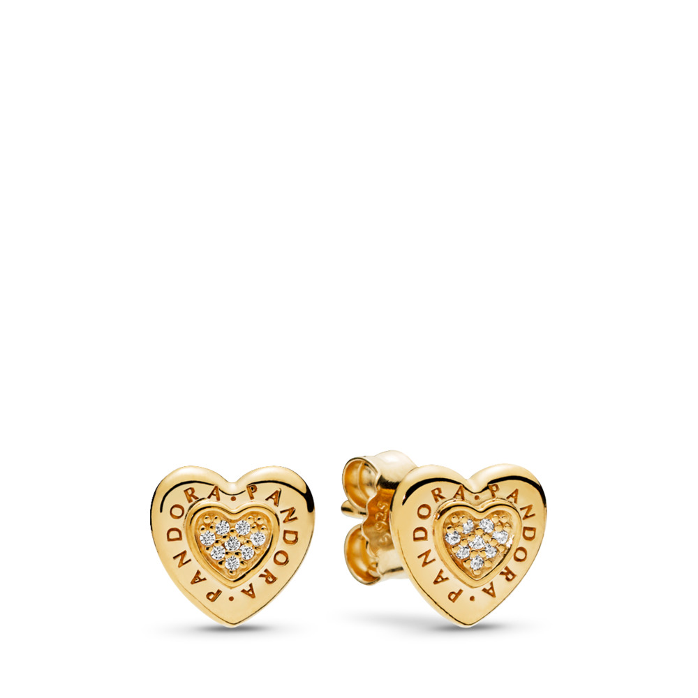 PANDORA Signature Heart Stud Earrings, PANDORA Shine™ & Clear CZ, 18ct Gold Plated, Cubic Zirconia - PANDORA - #267382CZ