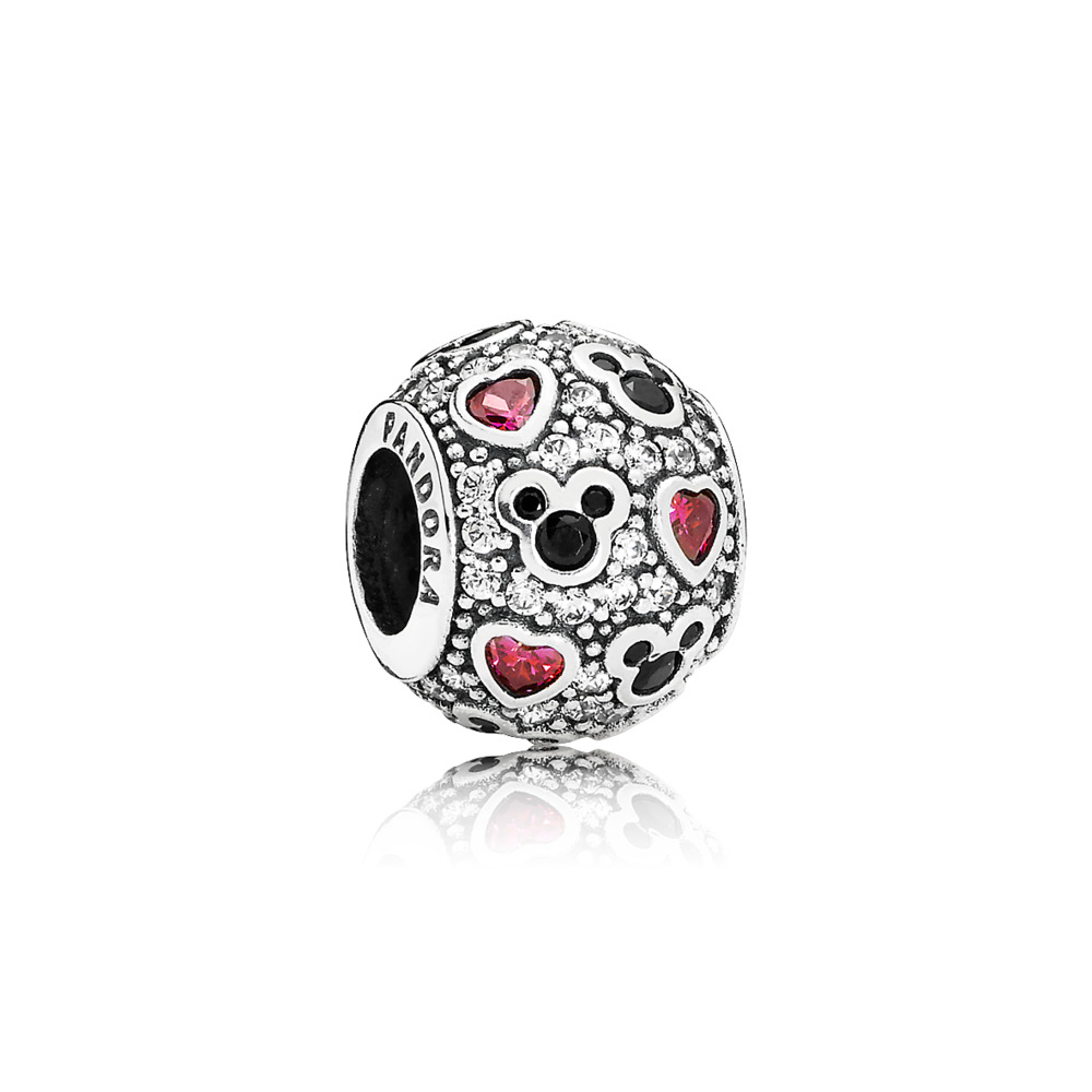 Disney, Sparkling Mickey & Hearts Charm, Clear CZ, Sterling silver, Black, Mixed stones - PANDORA - #791457CZ