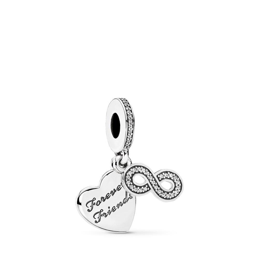 Forever Friends Dangle Charm, Clear CZ, Sterling silver, Cubic Zirconia - PANDORA - #791948CZ
