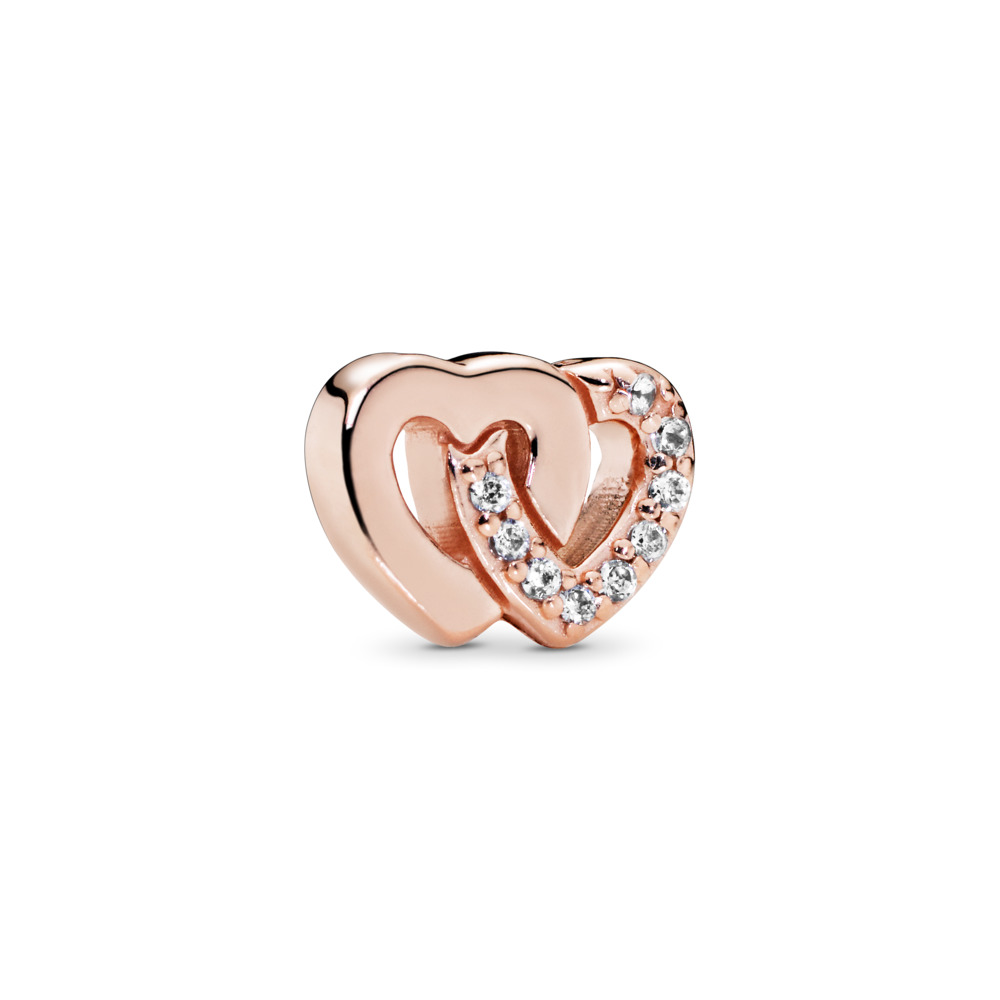 Interlocked Hearts Petite Locket Charm, PANDORA Rose™ & Clear CZ, PANDORA Rose, Cubic Zirconia - PANDORA - #786300CZ