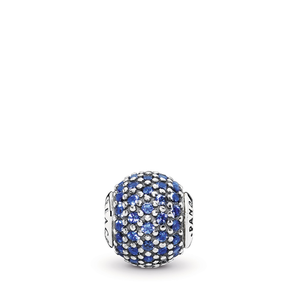 PEACE Charm, Blue Crystal, Sterling silver, Silicone, Blue, Crystal - PANDORA - #796060NCB