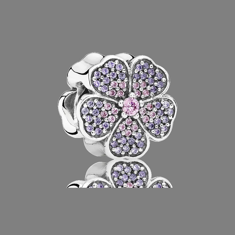 Sparkling Primrose Charm, Pink & Purple CZ