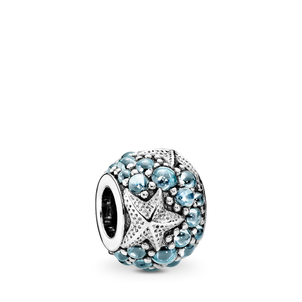 Oceanic Starfish Charm, Frosty Mint CZ, Sterling silver, Blue, Cubic Zirconia - PANDORA - #791905CZF
