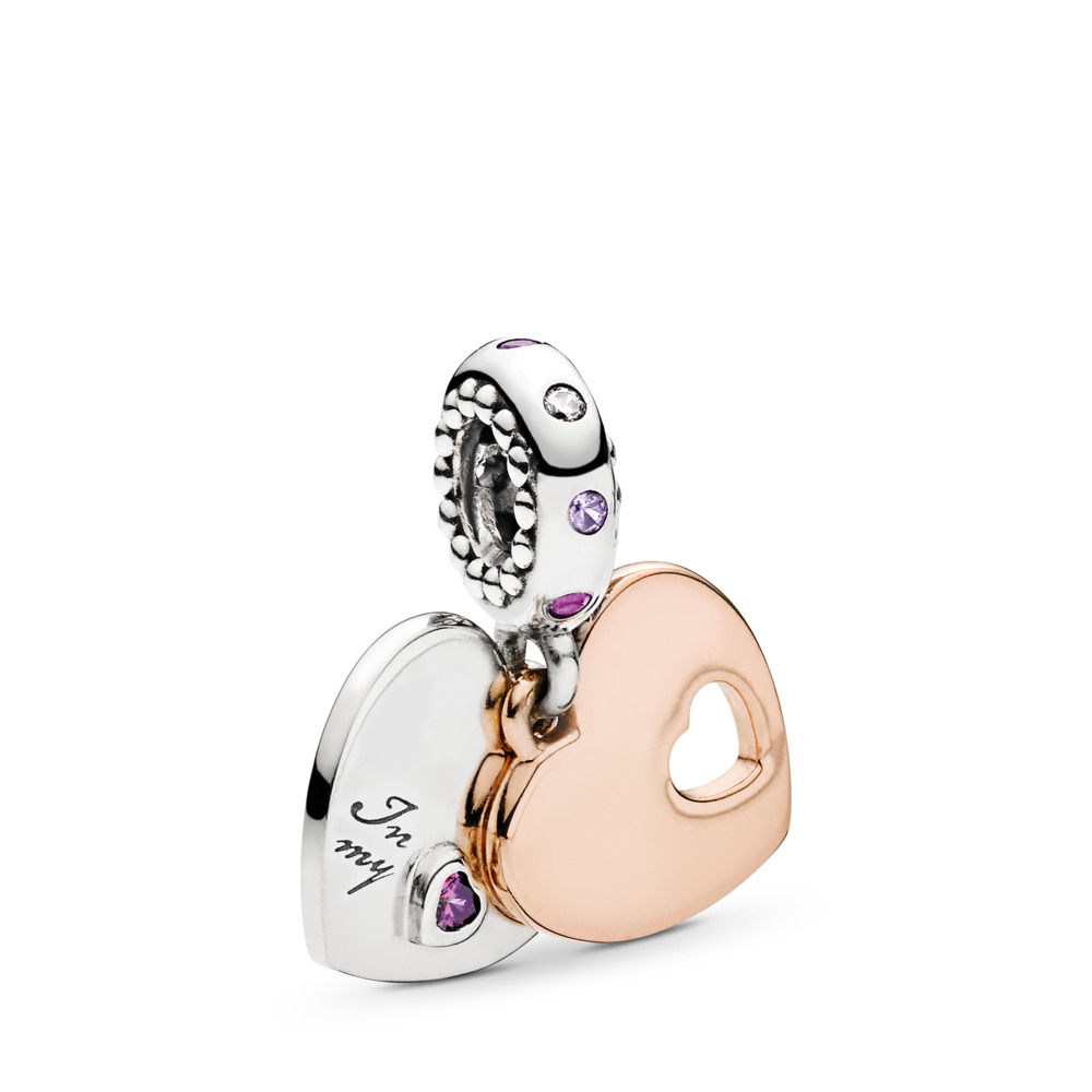 Part Of My Heart Dangle Charm, PANDORA Rose™,  Soft Pink & Lilac Crystals & Clear CZ, PANDORA Rose with sterling silver, Pink, Mixed stones - PANDORA - #787235CFP
