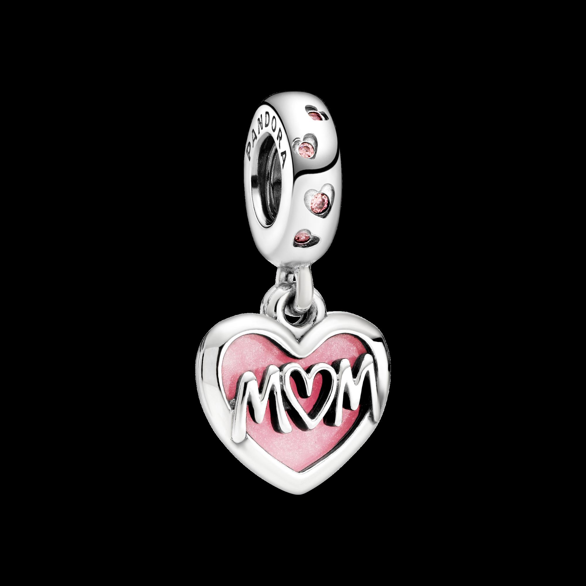 Mom Script Heart Dangle Charm
