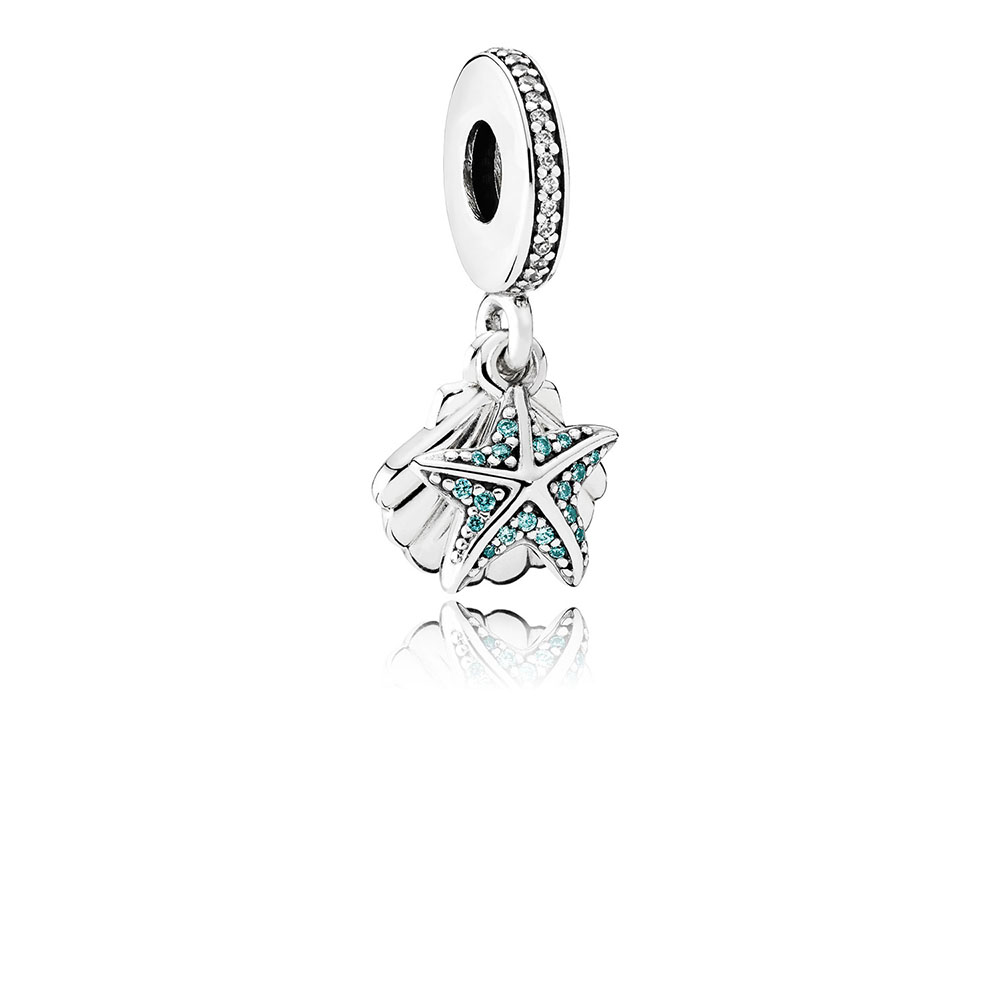 Tropical Starfish & Sea Shell Dangle Charm, Frosty Mint & Clear CZ