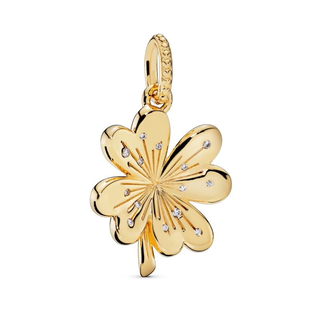 Lucky Four-Leaf Clover Pendant, Pandora Shine™, 18ct Gold Plated, Cubic Zirconia - PANDORA - #367935CZ