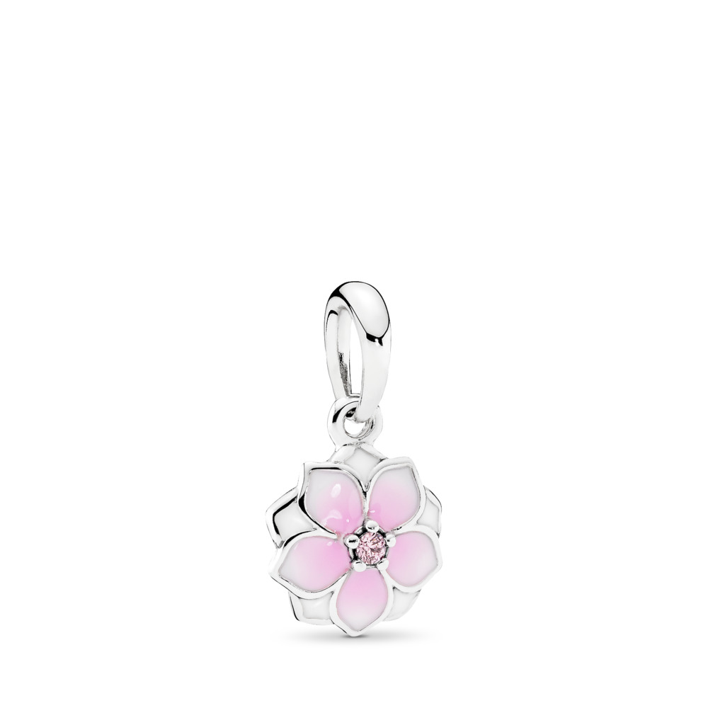 e0d713e96 Magnolia Bloom Dangle Charm, Pale Cerise Enamel & Pink CZ, Sterling silver,  Enamel