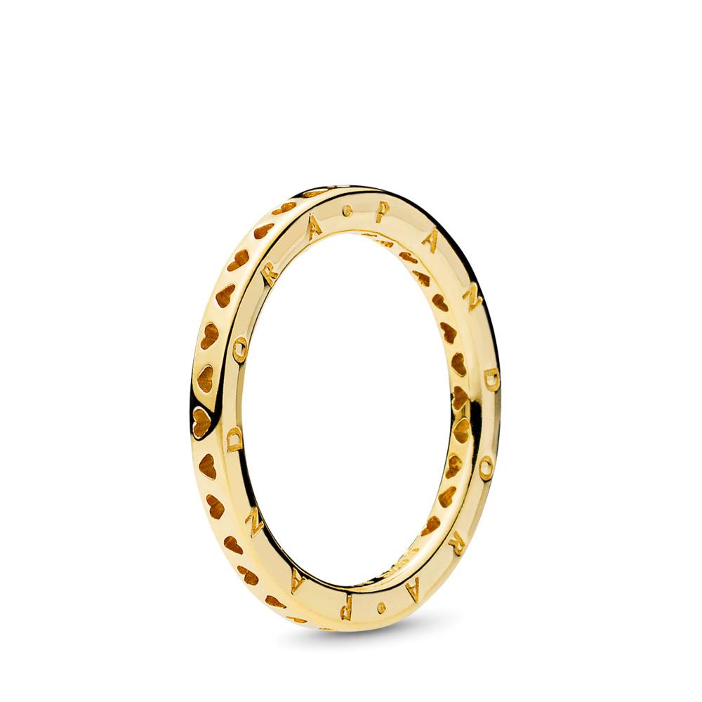 Signature Hearts of PANDORA Ring, PANDORA Shine™, 18ct Gold Plated - PANDORA - #167134