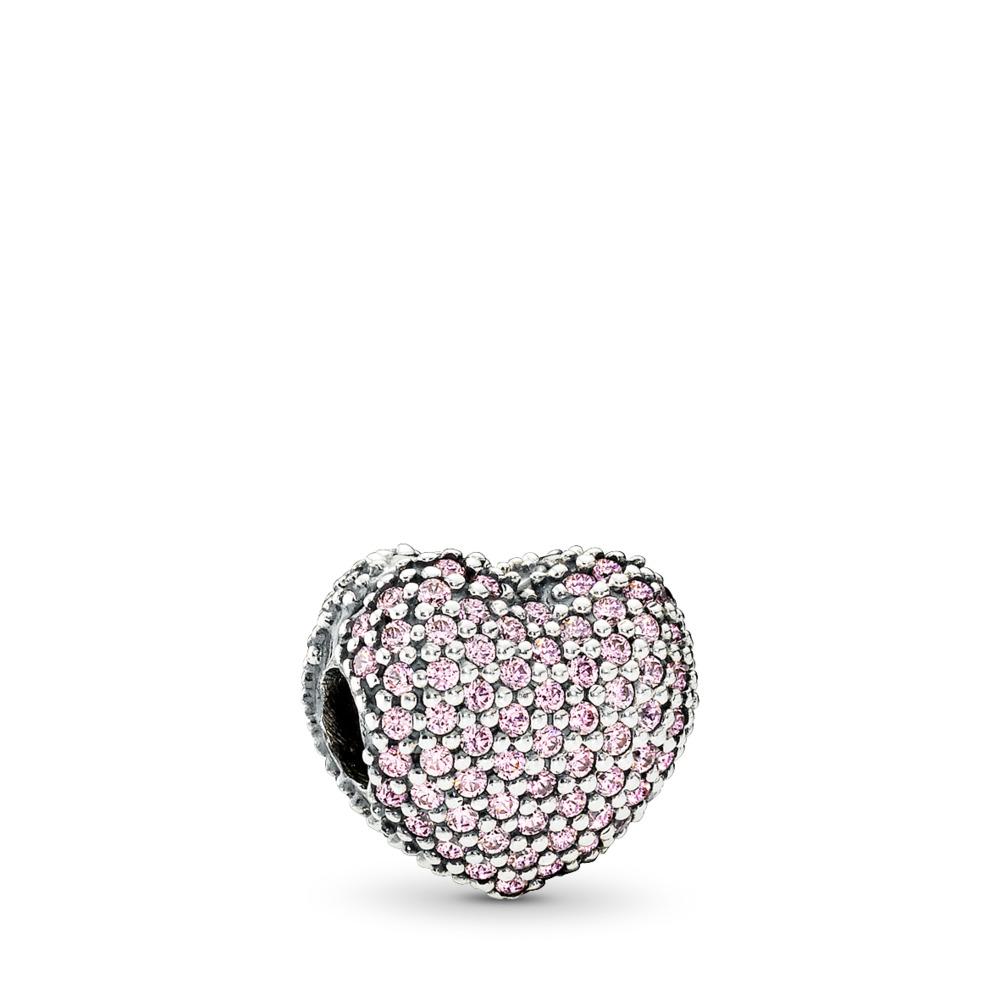Pavé Open My Heart Clip, Pink CZ, Sterling silver, Pink, Cubic Zirconia - PANDORA - #791427PCZ