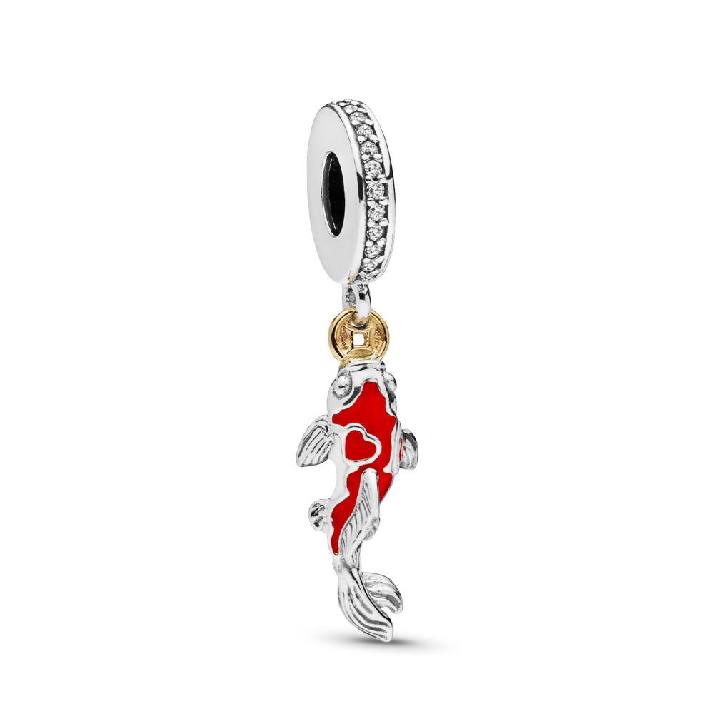 Good Fortune Carp Charm, Clear CZ & Mixed Enamel
