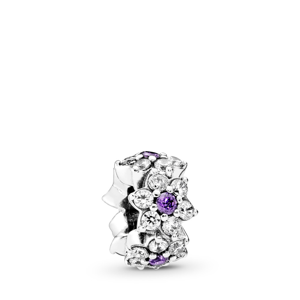 Forget Me Not Spacer, Purple & Clear CZ, Sterling silver, Purple, Cubic Zirconia - PANDORA - #791834ACZ