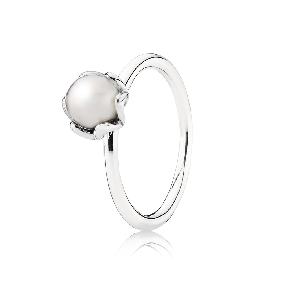 Cultured Elegance Stackable Ring, White Pearl, Sterling silver, Freshwater cultured pearl - PANDORA - #190865P