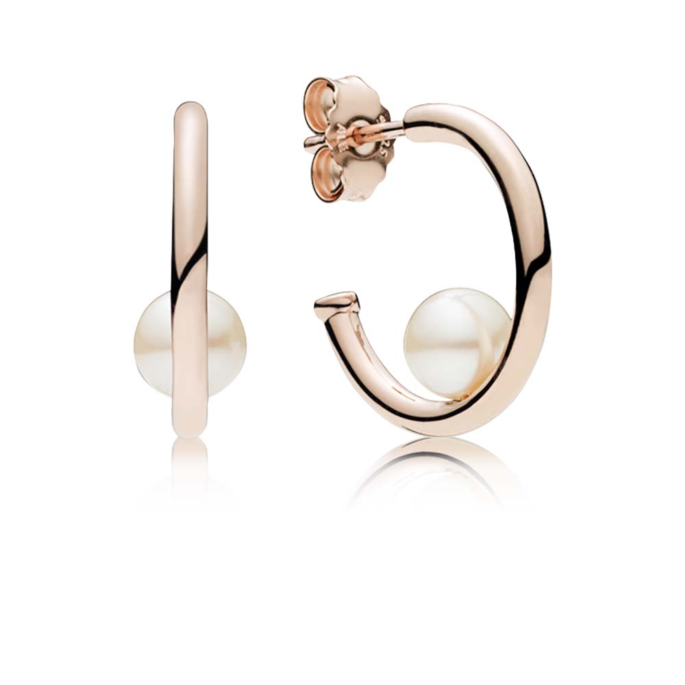 Contemporary Pearls Hoop Earrings, PANDORA Rose™ & Freshwater Cultured Pearl