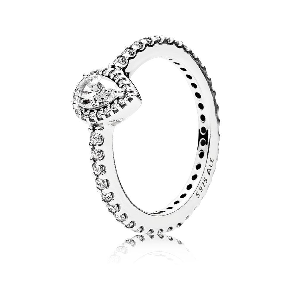 Radiant Teardrop Ring, Clear CZ