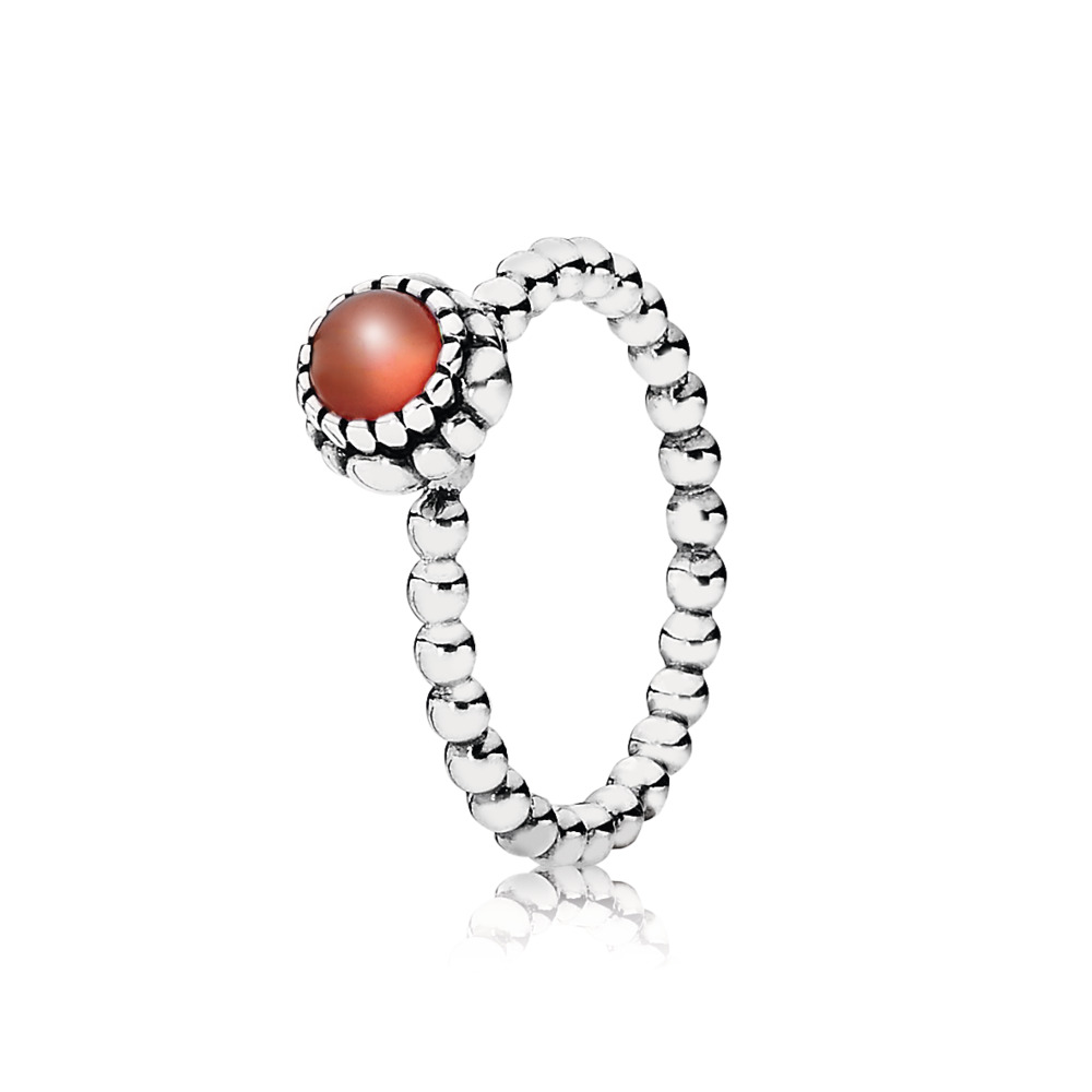 Birthday Blooms Ring, July, Carnelian, Sterling silver, Orange, Carnelian - PANDORA - #190854CAR