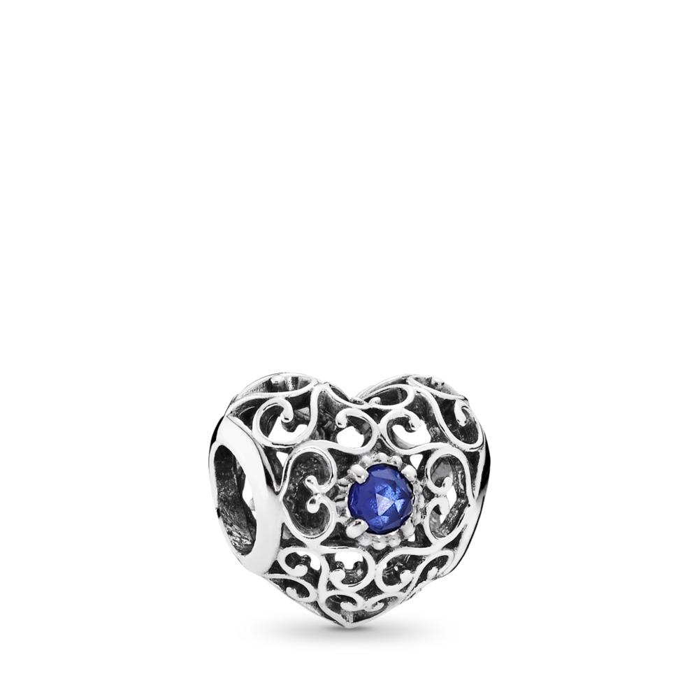 September Signature Heart Charm, Synthetic Sapphire, Sterling silver, Blue, Synthetic sapphire - PANDORA - #791784SSA
