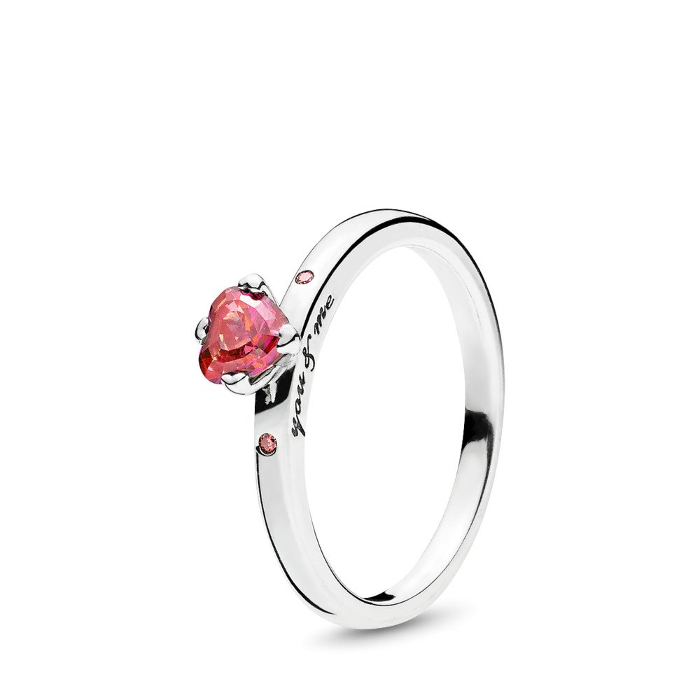 Sparkling Red Heart Ring, Sterling silver, Pink, Cubic Zirconia - PANDORA - #196574CZRMX
