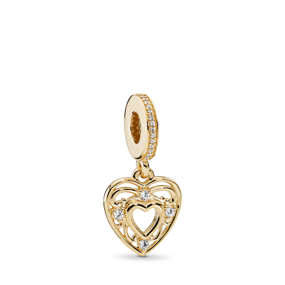 Romantic Heart Dangle Charm, 14K Gold & Clear CZ, Yellow Gold 14 k, Cubic Zirconia - PANDORA - #751001CZ